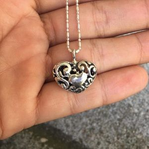 Peruvian Silver Decorated Heart Pendant Necklace
